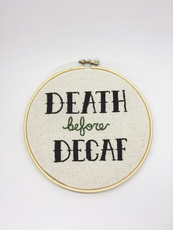 Death Before Decaf Cross Stitch by DIYnosaurShop on Etsy