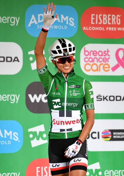 d6ee8a03e Coryn Rivera of The United States and Team Sunweb Green Leader Jersey waves  to fans at the start during the 5th OVO Energy Women s Tour 2018 Stage 4.