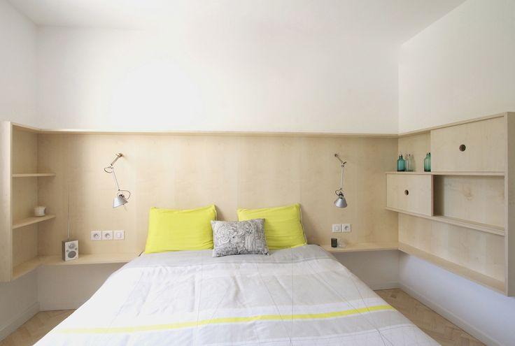 custom built plywood bedside