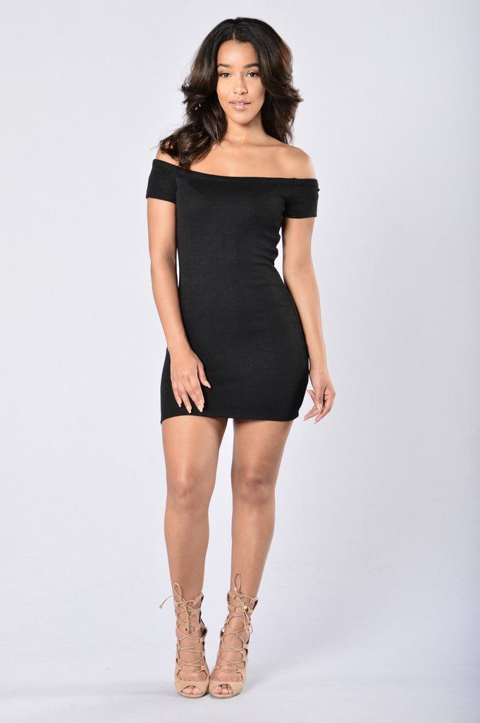 - Available in Black - Ribbed Mini Dress - Off Shoulder - Cap Sleeve - Very Stretchy - 95% Polyester 5% Spandex