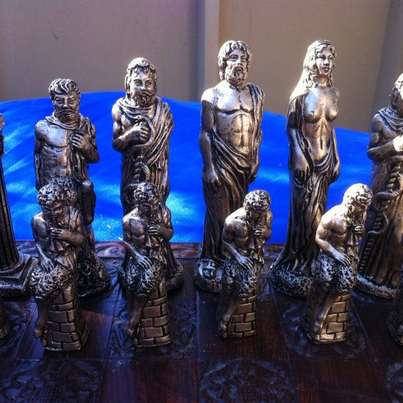 Large Greek Mythology Chess Set, Customisable Colours (Pieces only/Board not included) Zues, Aphrodite, Asclepius, Centaur, Pan