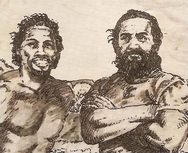 Kimo Mitchell (left) and George Helm are depicted in a 1984 sketch by Oahu artist Wayne Muromoto. Helm, Mitchell and Billy Mitchell left for Kahoolawe on March 5 to look for two friends who had been protesting the bombing of the island. Unable to find their friends, the three men attempted to paddle back to Maui and encountered rough seas. Billy Mitchell returned to Kahoolawe to seek help, but Helm and Kimo Mitchell disappeared. Photo courtesy of Helm family