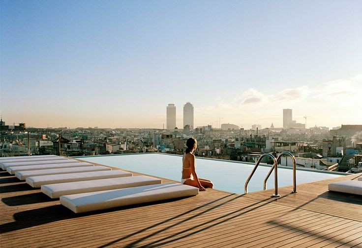 """Grand Hotel Cenetra, Barcelona.  From """"21 of the world's sexiest rooftop pools"""" on Matador Network"""