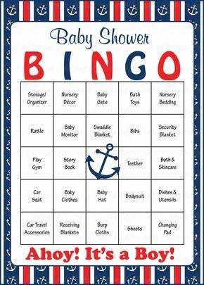 Nautical Baby Bingo Cards – Printable Download – Prefilled – Anchor Baby Shower Game for Boy – Navy & Red