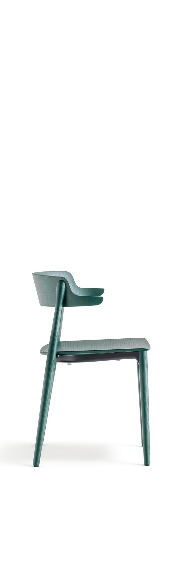 Nemea solid wood cafe chair in dark green