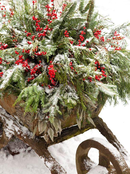 Fill a vintage wheelbarrow with holiday greenery, dried eucalyptus and winterberry holly. More outdoor holiday decorations: http://www.bhg.com/christmas/outdoor-decorations/outdoor-holiday-decorating-ideas/?socsrc=bhgpin1110winterwheelbarrow#page=19