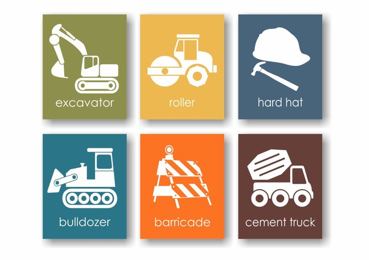 Construction Nursery, Boys Room Wall Art, Construction Site, Excavator, Bulldozer, Cement Truck, Playroom Artwork, Toddler Art - Set of 6 by twowhiteowls on Etsy https://www.etsy.com/listing/160195572/construction-nursery-boys-room-wall-art