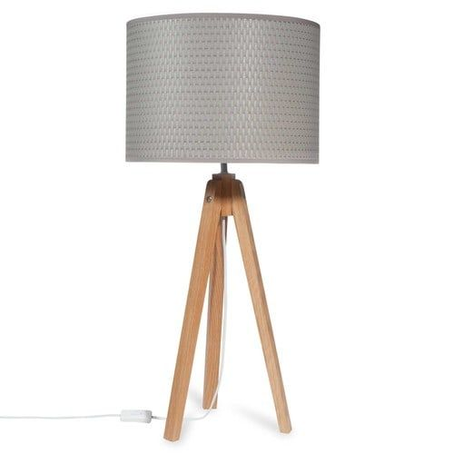 ANDERNOS faux wood tripod floor lamp with grey shade