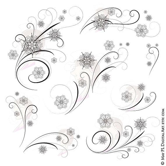 7 pieces of elegant Snowflake Flourishes and Snow Crystal Swirls. This vintage style clipart set is beautiful as wedding or Christmas pieces or