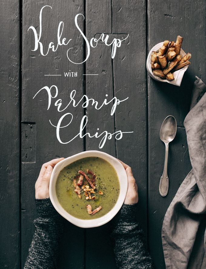 Kale Soup with Parsnip Chips - Two Coffee Beans
