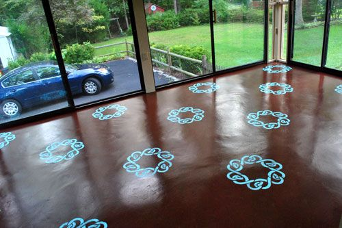 How To Paint Amp Stencil A Concrete Floor Screened Patio