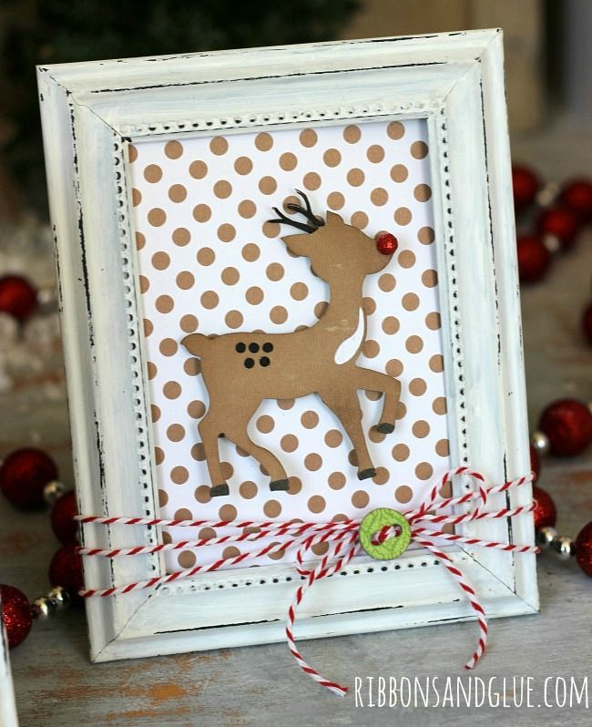 Simple DIY Christmas Frames made with Echo Park & Silhouette cut files