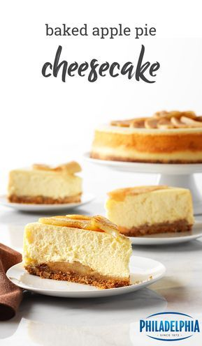 Baked Apple Pie Cheesecake – Combine two of your favorite desserts into one with the help of this creamy cheesecake recipe. Complete with a graham cracker and oat crust, this delicious dessert has it all.