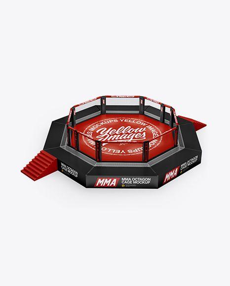 MMA Octagon Cage Mockup (High-Angle Shot)