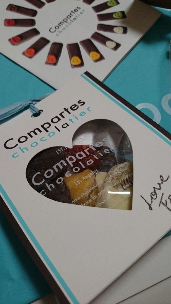 コンパーテス ショコラティエのラブフルーツミックスをいただきました❤  セミドライフルーツにチョコレートディップ✨私は紅茶と一緒にいただきましたが、シャンパンとの相性が◎らしいです(о´∀`о)  ハリウッドセレブも夢中のチョコレート、さすがの美味しさです‼