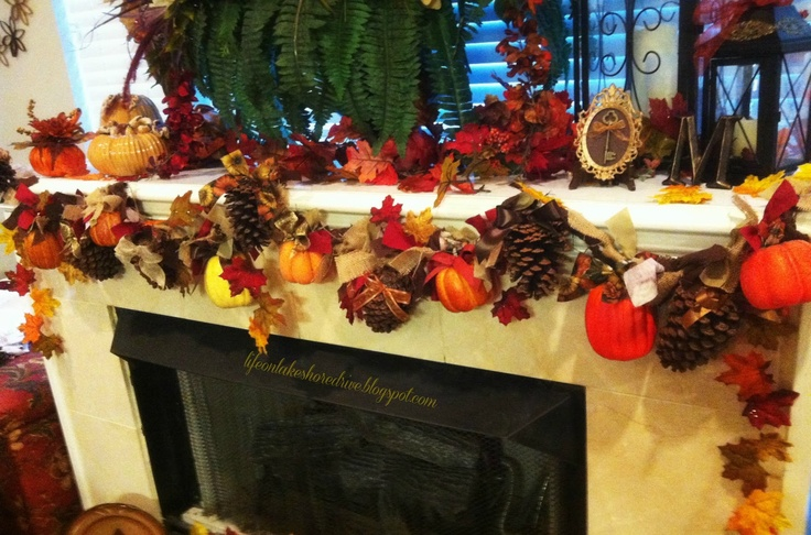 Pine Cones & Pumpkins Fireplace Garland.  Arrangement at the bottom on the hearth is pretty, too.