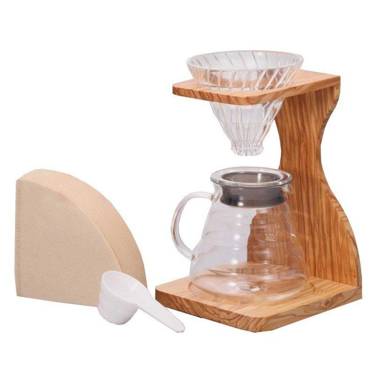Bundle up and save with the Hario V60 Pour Over Set with Olive Wood Stand. This set has everything you need to explore the Hario V60 product line: a dripper, server, stand, filters, and a coffee scoop.