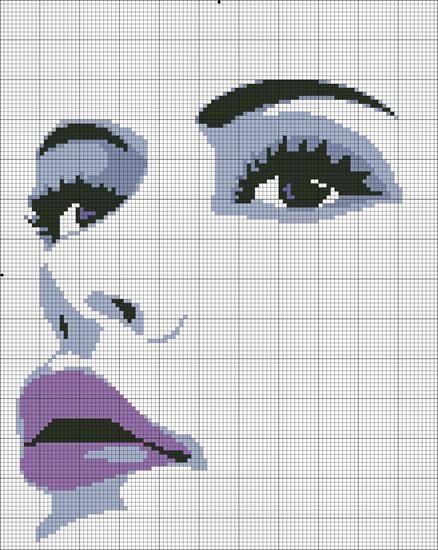0 point de croix portrait femme levres violet - cross stitch purple lips lady portrait
