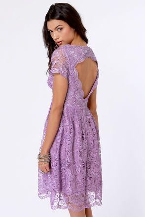 lavender lace dress with a keyhole back