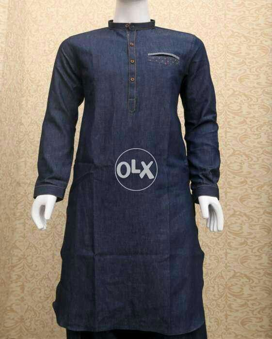 a52f7c1d00 Denim kurta for men in blue color from pakistan