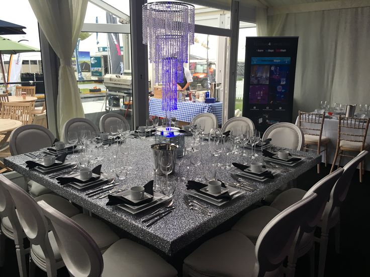 Silver Glitter Fabric 6ft Square Table - available to hire as you see here, or covered in an alternative fabric to suit your theme.