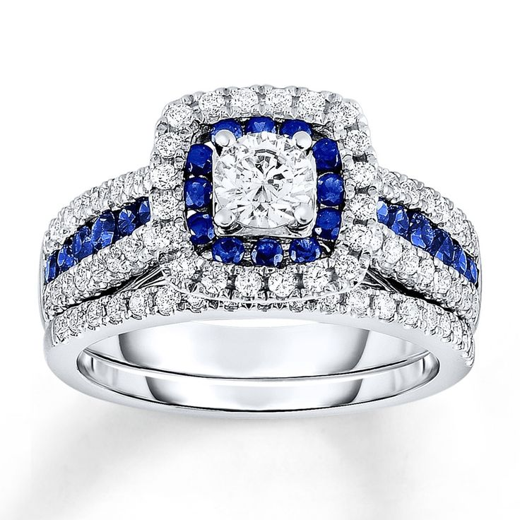 ring silver image wedding rings zirconia jewellery sapphire cubic womens sterling blue set