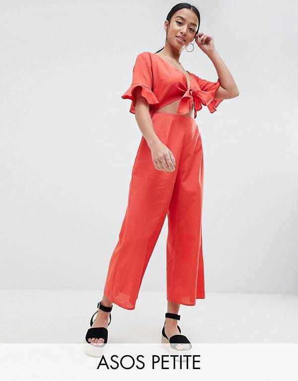 50b023b5e42 ASOS DESIGN Petite tea jumpsuit with cut out and tie detail in linen ...