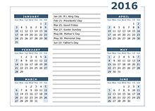 2016 yearly calendar with usa holidays