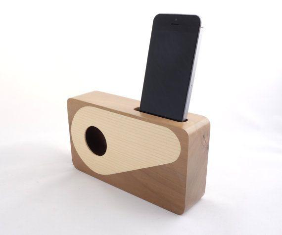 Handmade walnut wood iPhone acoustic speaker box, Gift ideal