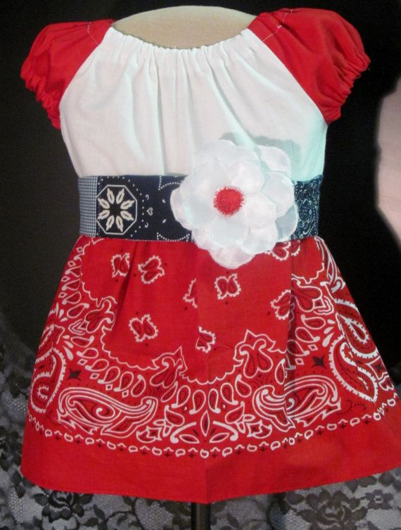 Baby Girl Bandana Dress Red Bandana with by CLASSYTHREADSBYCB, $35.00
