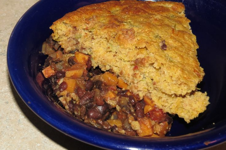 Vegetarian Chili with Cornbread Topping | Healthy Recipes | Pinterest