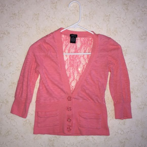 Cropped Pinky Coral Cardigan Cropped pinky coral cardigan with lace and sequined accent on the back. Rue 21 Sweaters Cardigans