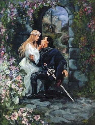 Medieval romance, fantasy, art, maiden, with a knight who looks like Tom Hiddleston!