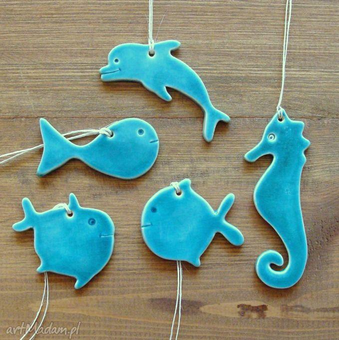 Zawieszki morskie ceramika pracownia ako łazienka delfin rybki