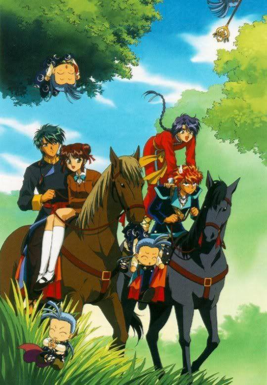 Tamahome, Miaka, Nuriko, Chichiri and Tasuki