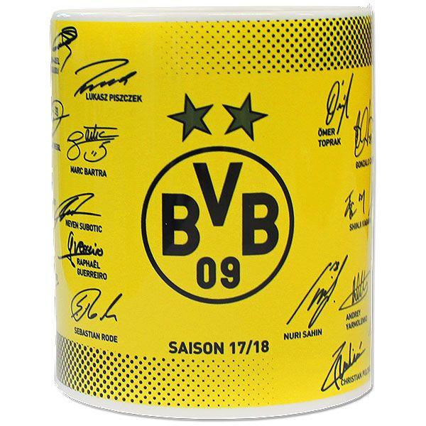 Die aktuelle BVB Tasse 2017 / 2018 mit den Autogrammen der Stars.