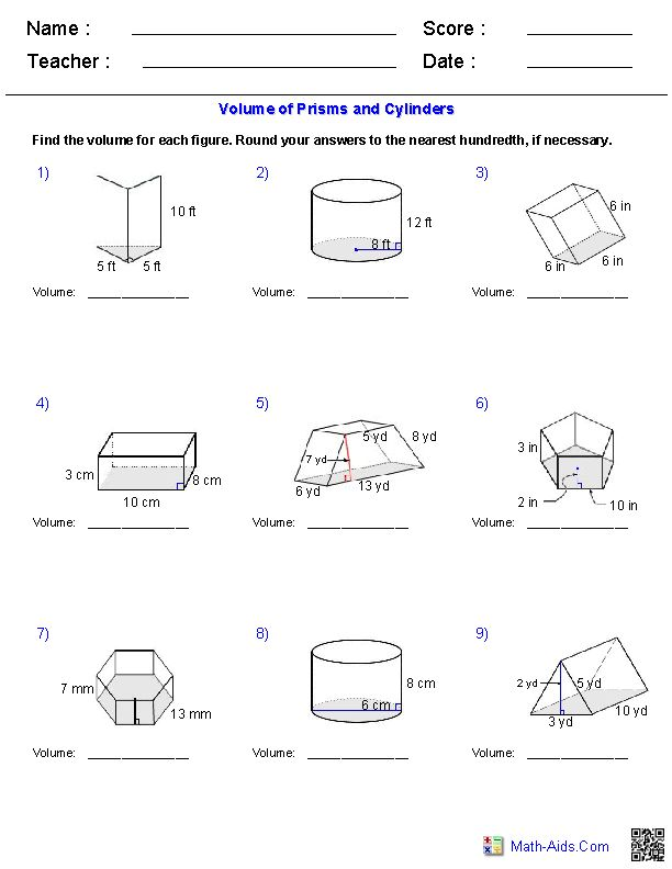 Prisms And Cylinders Volume Worksheets Math Aids Com