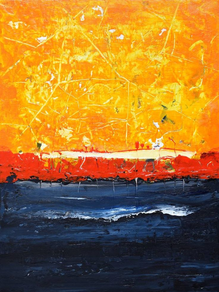 Buy Prints of VM824, a Acrylic on Canvas by Radek Smach from Czech Republic. It portrays: Abstract, relevant to: sea, sunrise, sunset, landscape, yellov, orange Original abstract layered painting on canvas. Ready to hang. No framing required (it can be framed). Signed on the back.