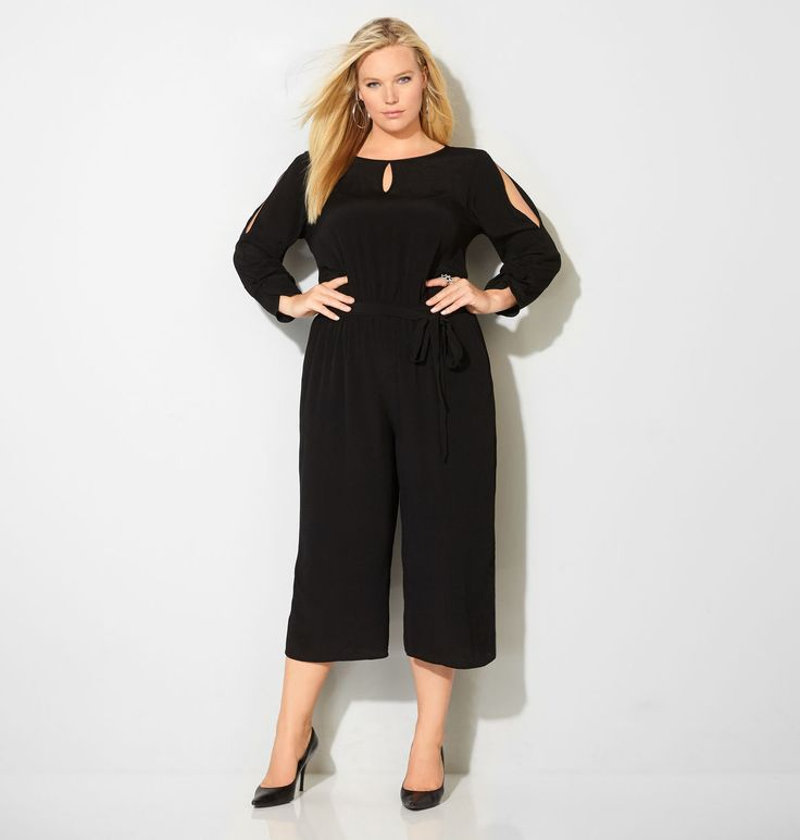 Shop trendy new one-piece style for special occasions like the plus size Gaucho Cold Shoulder Jumpsuit available online at avenue.com. Avenue Store