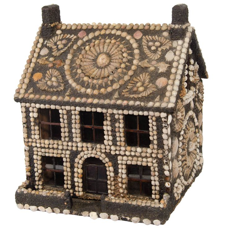 English Victorian Seashell and Wood House | From a unique collection of antique and modern decorative objects at http://www.1stdibs.com/furniture/more-furniture-collectibles/decorative-objects/