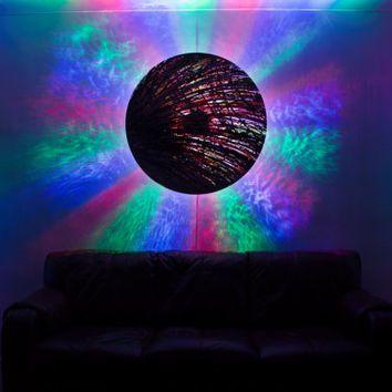 Large round circular abstract wall clock. Stunning design. OOAK designer wall light. Vivid colours. World clock Projection clock atomic art