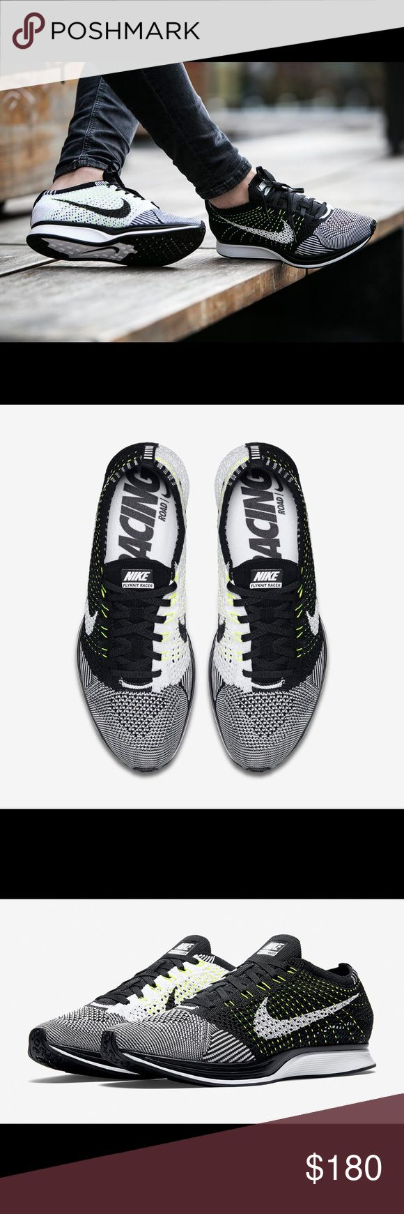 Nike Flyknit Racers Black/white/volt. Size men's 5, which I think is a women's 6.5 or 7. Nike Shoes Sneakers