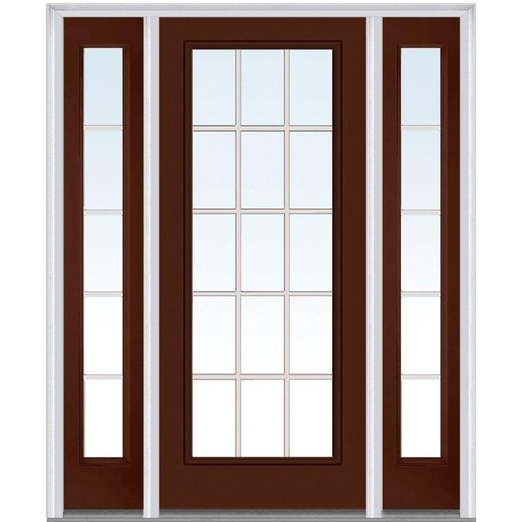 Milliken Millwork 64.5 in. x 81.75 in. Classic Clear Glass GBG Full Lite Painted Majestic Steel Exterior Door with Sidelites, R