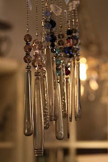 fan pulls made from vintage silverware handles.