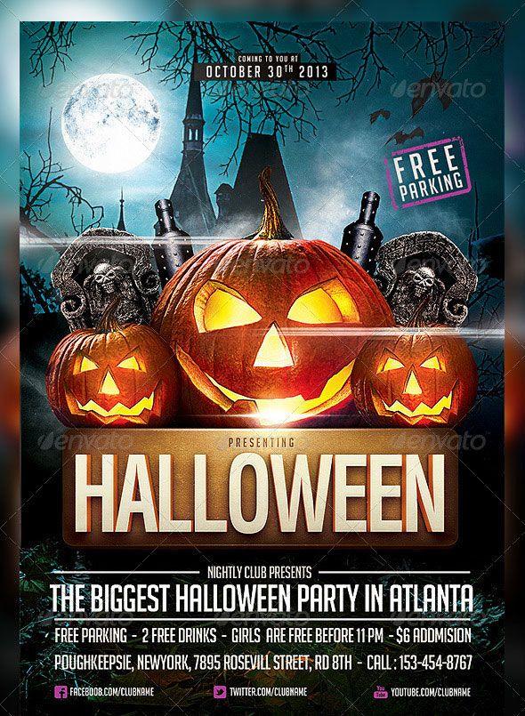 25 hellacious psd halloween flyer templates 2015 flyer template flyers and party flyer for Halloween psd