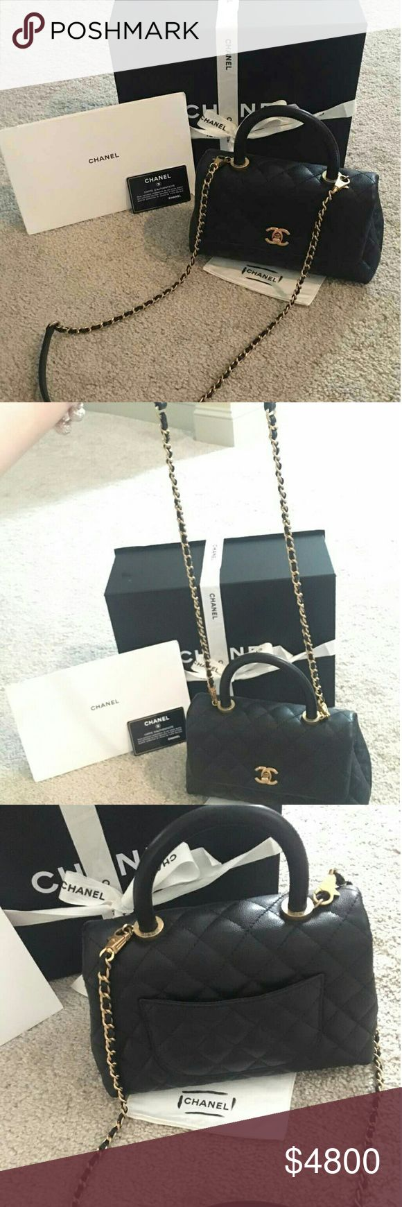 Chanel Coco Handle black cavier with gold chain It is like brand new . Just use once . There is no dirt or stain . 100% Authentic . I just bought it in Feb _2017. There is no receipt. It does come with box ,Authenticity card, ribbon . Accept P  P. CHANEL Bags Crossbody Bags