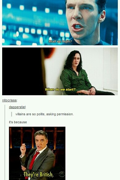British villains are ever so polite.