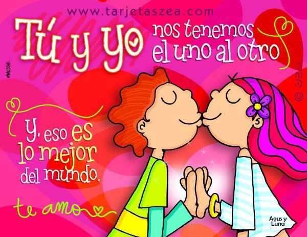 contigo todo es lo mejor-Agus y luna dándose un besito© ZEA www.tarjetaszea.com