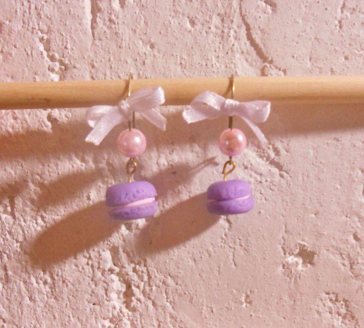 #orecchini con #macaron in #fimo #perle e #fiocchi  (5e effettuo spedizioni)