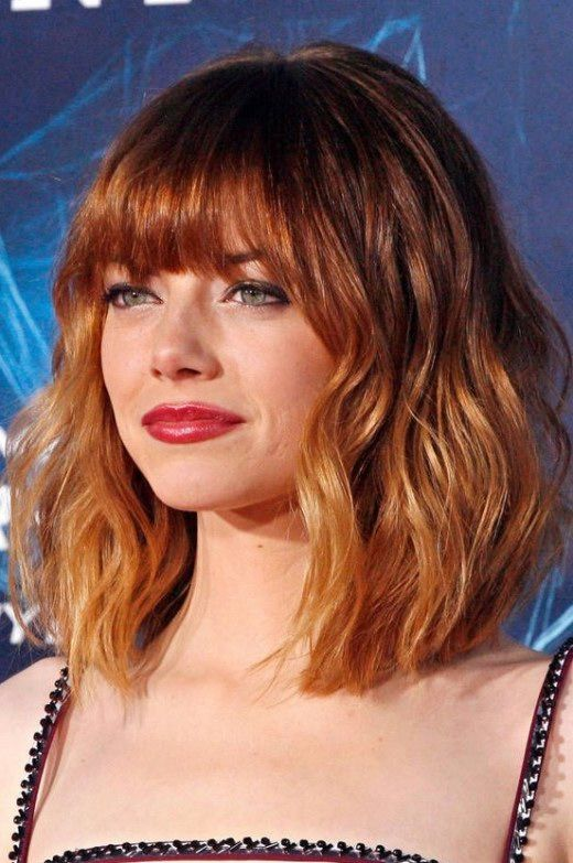 Short Hairstyles With Bangs  Picture Of Short Red Ombre Haircut With Bangs